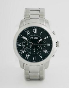 Часы с хронографом из нержавеющей стали Fossil Grant FS4736 - Серебряный