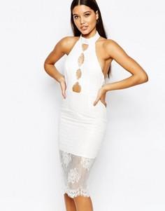 Платье миди с высокой горловиной и кружевной отделкой Love Triangle - Белый
