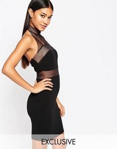 Облегающее платье с высокой горловиной и сетчатыми вставками NaaNaa - Черный