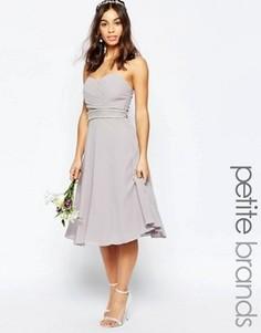 Платье для выпускного с декорированной талией TFNC Petite WEDDING - Серый