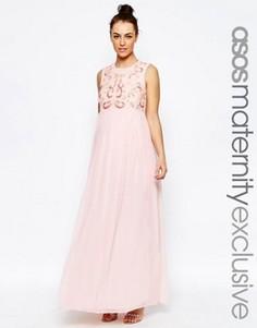 Платье макси с декоративной отделкой и шифоновой юбкой ASOS Maternity - Розовый