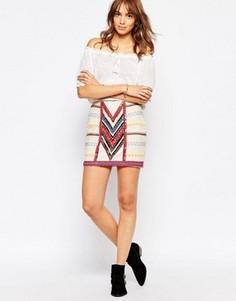 Брезентовая мини-юбка с бусинками Pepe Jeans - Кремовый