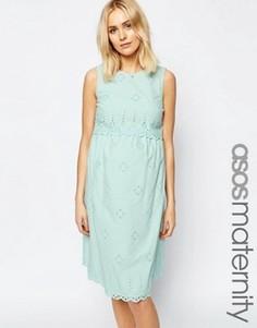Сарафан миди для беременных с ришелье ASOS Maternity - Зеленый