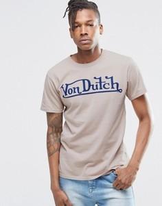 Футболка с крупным логотипом Von Dutch - Бежевый