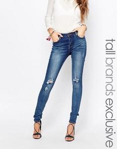 Супероблегающие джинсы с классической талией Liquor & Poker Tall - Синий