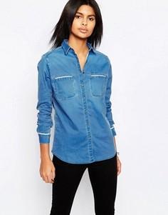 Джинсовая рубашка с белым кантом Pepe Jeans Carla - Темно-синий