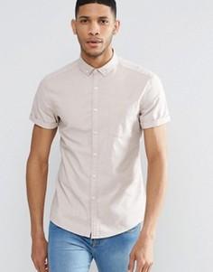 Облегающая оксфордская рубашка с короткими рукавами ASOS - Stone