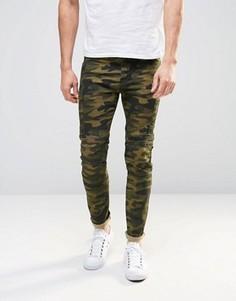 Супероблегающие джинсы с камуфляжным принтом и байкерскими вставками ASOS - Зеленый