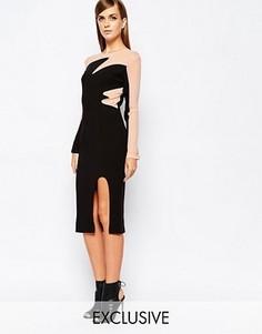Платье миди с контрастными вставками и разрезом The 8th Sign - Черный