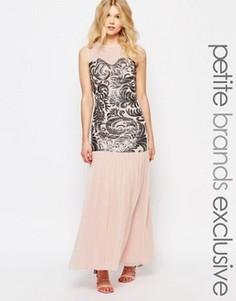Платье макси с пайетками и тюлевой юбкой John Zack Petite - Розовый