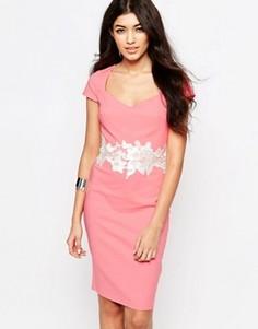 Платье-футляр с кружевной отделкой Paper Dolls - Розовый
