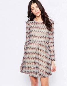 Короткое приталенное платье в полоску Glamorous - Серый