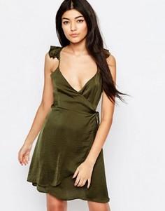 Платье с запахом и оборками Wyldr Spoken Thoughts - Зеленый