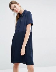 Платье-рубашка с юбкой в складку Suncoo Calle - Темно-синий