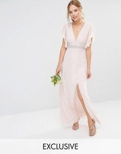 Платье макси с декорированной талией и расклешенными рукавами TFNC WEDDING - Розовый