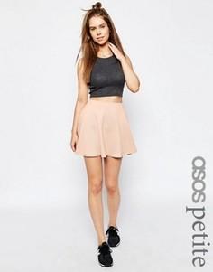 Фактурная короткая расклешенная юбка ASOS PETITE - Розовый