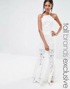 Эксклюзивное кружевное платье макси с высоким воротом Missguided Tall - Белый