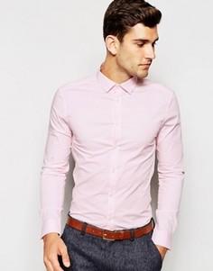 Розовая рубашка скинни с длинными рукавами ASOS - Розовый