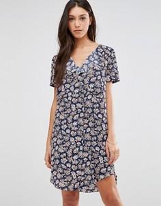 Платье с цветочным принтом Traffic People - Темно-синий