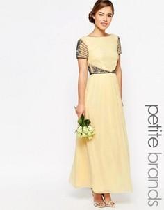 Платье макси с короткими рукавами и отделкой на талии Maya Petite - Желтый