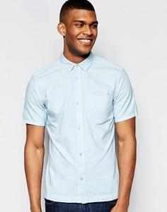 Голубая классическая джинсовая рубашка с короткими рукавами Waven Josef - Синий