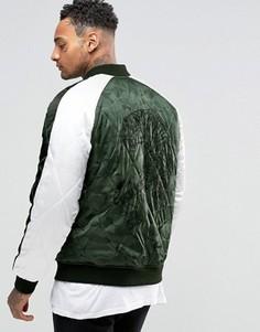Камуфляжная куртка с вышивкой тигра ASOS Souvenir - Зеленый