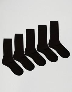 5 пар черных носков из вафельного трикотажа ASOS - СКИДКА - Черный