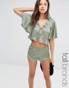 Атласная футболка со шнуровкой Glamorous Tall Co-Ord - Зеленый