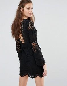 Кружевное платье мини с длинными рукавами Foxiedox - Черный