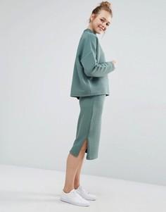 Трикотажная юбка миди Monki - Зеленый