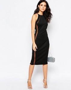 Облегающее платье миди с сетчатой вставкой Oh My Love - Черный