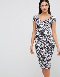 Платье-футляр с цветочным принтом Vesper - Черный