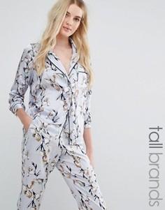 Атласная блузка в пижамном стиле с цветочным принтом Vero Moda Tall - Мульти