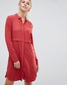 Платье-рубашка Pieces Pips - Красный