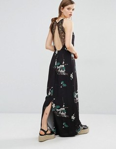 Платье макси без рукавов с кружевной спинкой Samsoe & Samsoe Willow - Черный
