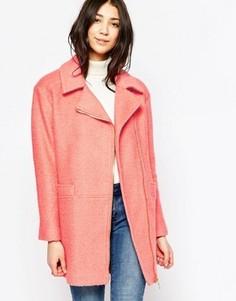 Пальто с асимметричной молнией Yumi - Розовый