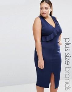 Платье-футляр с оборкой Praslin Plus - Темно-синий