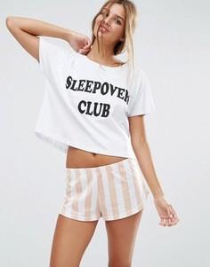 Пижама с футболкой и шортами ASOS Sleepover Club - Мульти