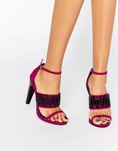 Босоножки на каблуке с декоративной отделкой Little Mistress Havilland - Розовый