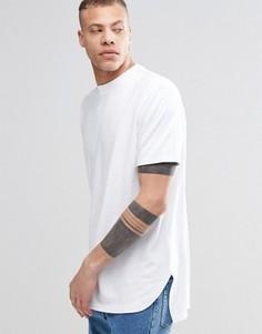 Белая длинная футболка Weekday - Белый