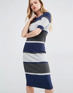 Трикотажное платье миди в полоску ADPT - Мульти