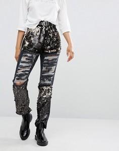 Потертые джинсы бойфренда с отделкой пайетками Daisy Street - Серый
