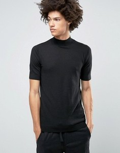 Вязаная футболка с высоким воротом и короткими рукавами ASOS - Черный