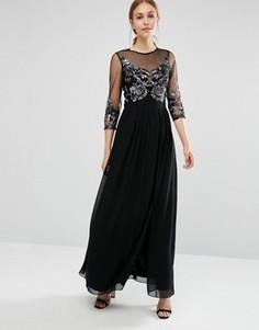 Платье макси с отделкой лифа и рукавами 3/4 Little Mistress - Темно-синий