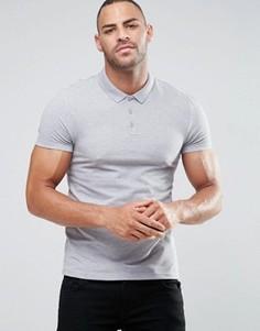 Серая облегающая футболка-поло из пике ASOS - Серый