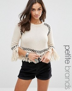 Джемпер с кисточками и контрастными деталями Glamorous Petite - Кремовый