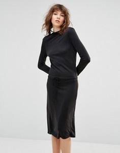 Платье с заниженной талией и свободным воротом Samsoe & Samsoe - Черный