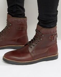 Бордовые кожаные ботинки на шнуровке со стеганой отделкой ASOS - Красный