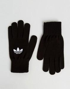 Черные перчатки с логотипом-трилистником adidas Originals AY9338 - Черный