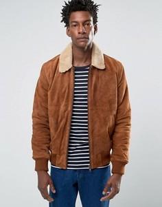 Светло-коричневая замшевая куртка-пилот с подкладкой из искусственного меха Bellfield - Бежевый